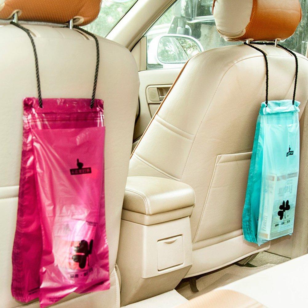 50PCS Disposable Car Organizer Storage Bag for Litter Garbage Trash Stick Anywhere HaloVa Car Garbage Bag Blue Traveling Portable Auto Seat Back Hanging Trash Bag