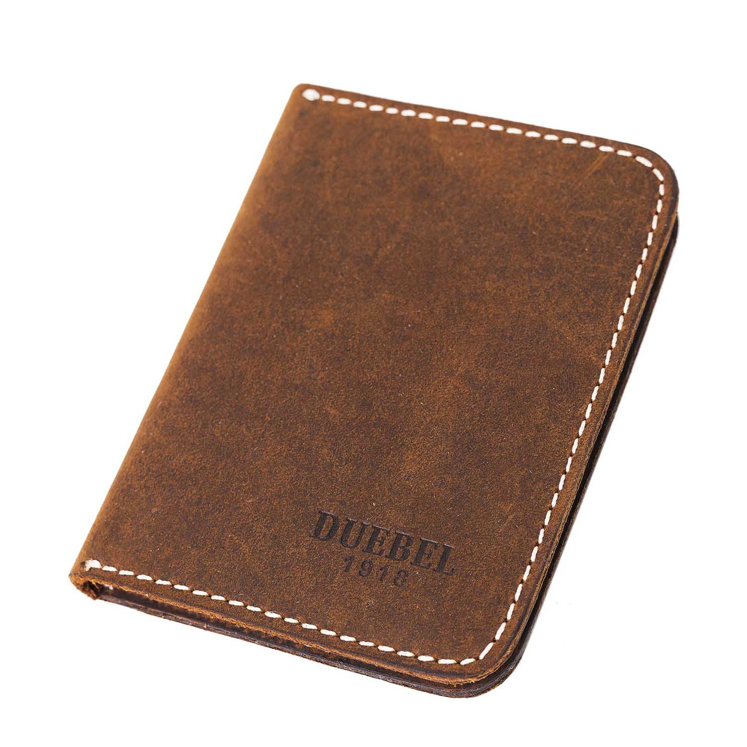 DUEBEL Small Leather Wallet, Front Pocket Wallet for Men, Minimalist Card Holder (DBL01-Brown without Magnet)