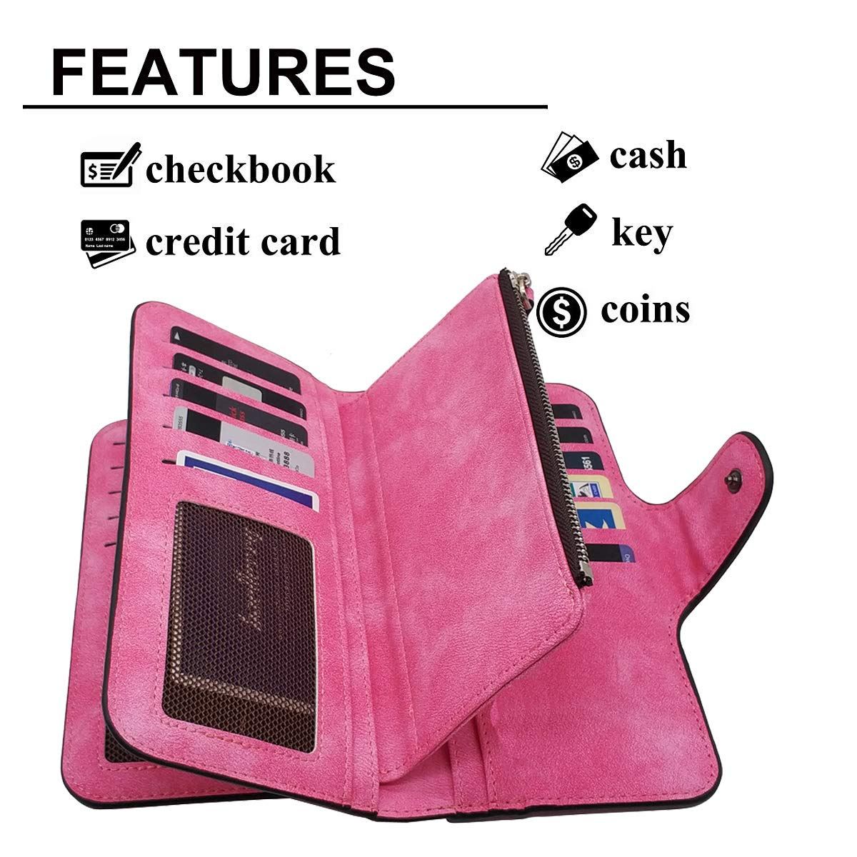 Laynos Wallet for Women Leather Clutch Purse Long Ladies Credit Card Holder Organizer Travel Purse