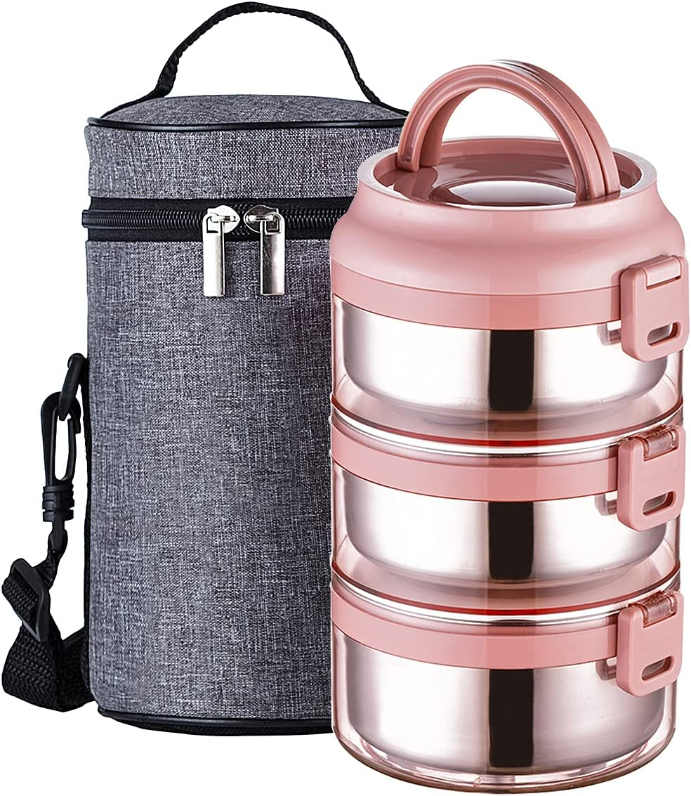 Lille Home Stainless Steel Stackable Compartment Lunch/Snack Box, 3-Tier Bento /Food Container with Lunch Bag, Leakproof, Smart Diet, Weight Control, 75 OZ, Pink
