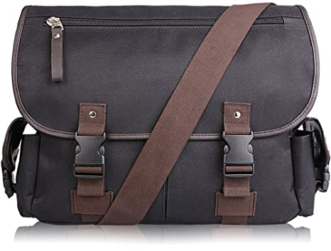 Amazon.com | AB Earth Vintage Leather Canvas Nylon School bag ...