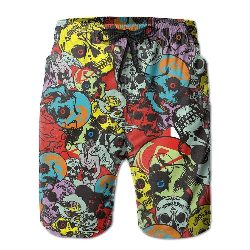 QQMIMIG Mens Boardshorts Color Skull Quick Dry Board Shorts Beach Shorts Swimwear Swim Trunks Surfing Suit