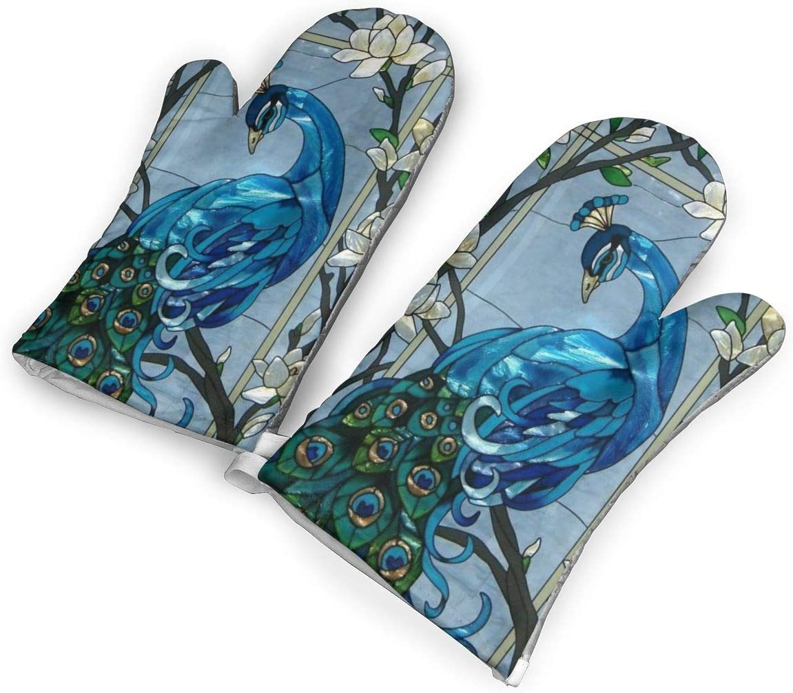 VshiXzno Peacock Floral Print Oven Mitts,Professional Heat Resistant to 500¡« F,Non-Slip Kitchen Oven Gloves for Cooking,Baking,Grilling,Barbecue Potholders