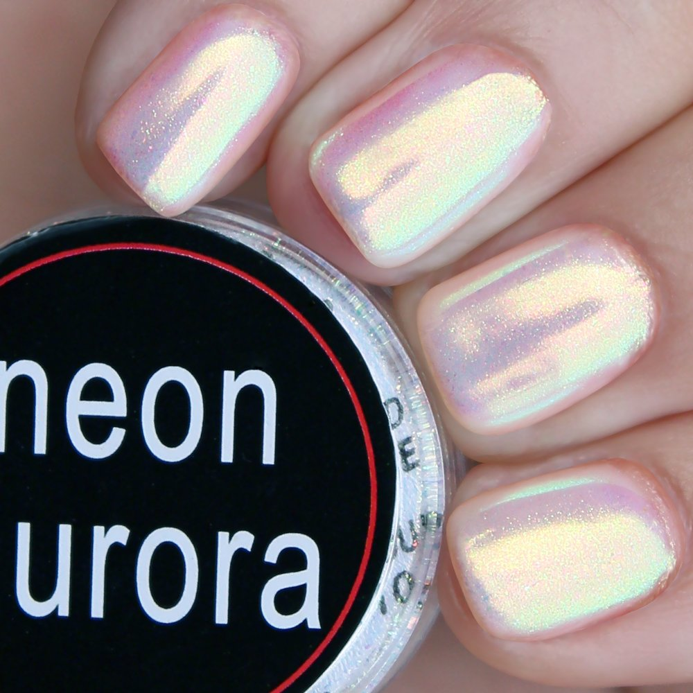 USHION Mermaid Powder Mirror Chrome Nail Powder Glitter Irridescent Aurora Effect Neon Mermaid Nails 0.5g/Box With 2 Applicators