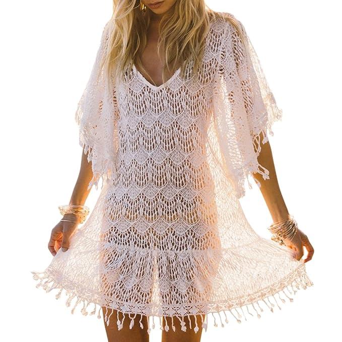iBaste Playa Vestidos Largos Blusas Mujer Sexy Tejidos Crochet Encaje Borla Bikini Cover up Traje de Baño: Amazon.es: Ropa y accesorios