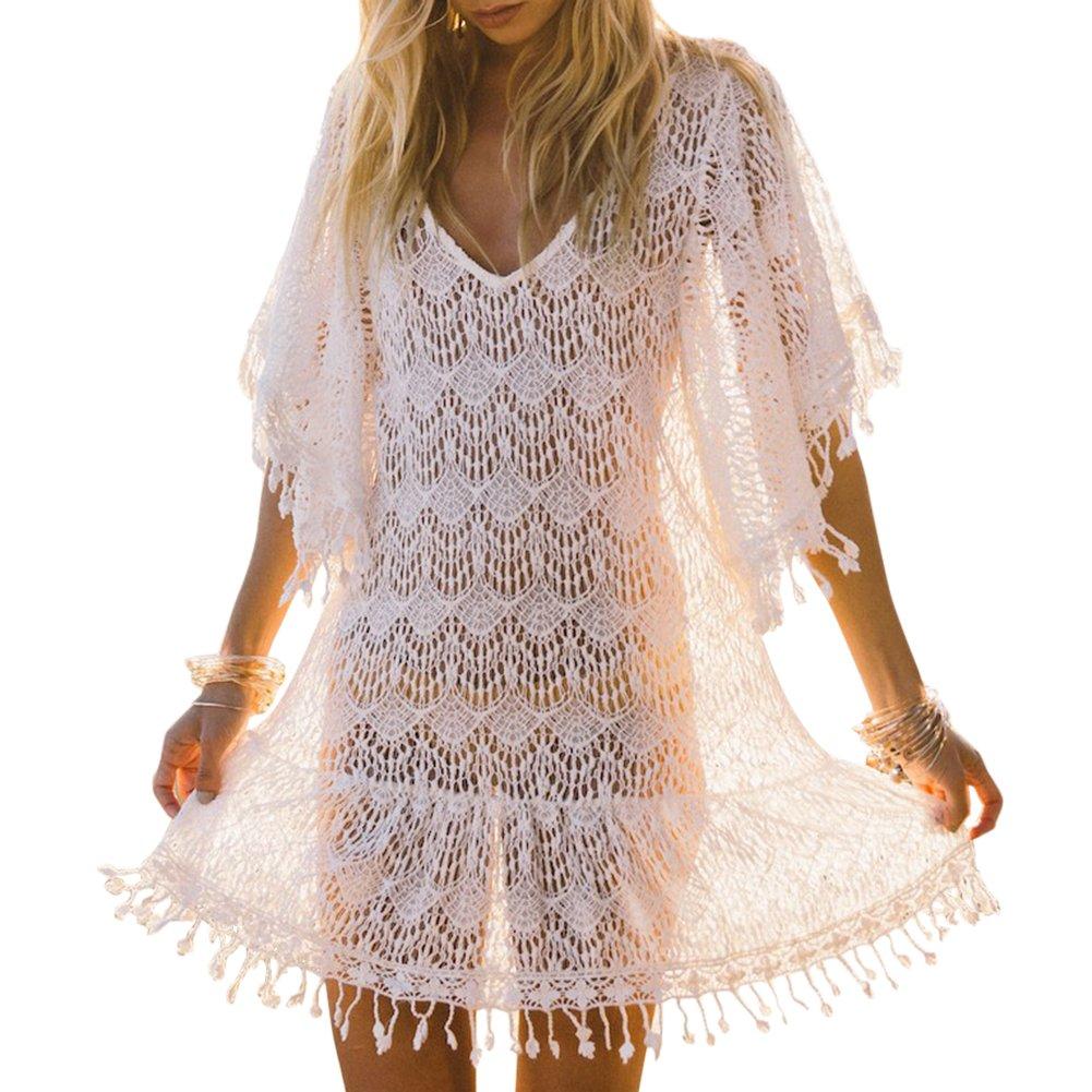 8311f8291 iBaste Playa Vestidos Largos Blusas Mujer Sexy Tejidos Crochet Encaje Borla  Bikini Cover up Traje de Baño  Amazon.es  Ropa y accesorios