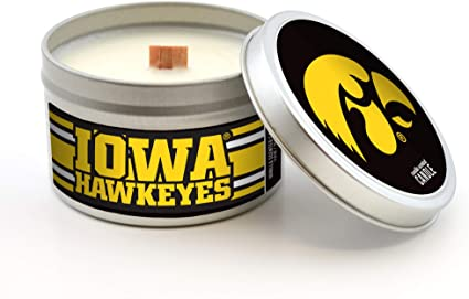 Vanilla Scent Worthy Promo NCAA Iowa Hawkeyes Travel Tin Candle with Wood Wick 5.8-Ounce Gray