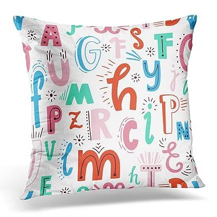 Amazon.com: Emvency Decorative Pillow Cover ABC Cute English ...