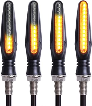 4 Pcs Simdapro Carbon Black LED Motorcycle Indicator Laufeffekt Sequential Universal