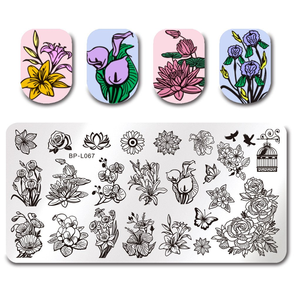 BORN PRETTY Template Stamping Plate Flower Rectangle Manicure Nail Art Image Plate BPL-67