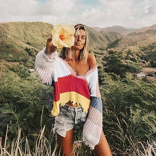 DOGZI Mujer Suéter Manga Larga Camiseta Calentar Escote en O Franja de Color Suelto Casual Tops Tapa de Gran tamaño Otoño Deportes Chaqueta con Capucha ...