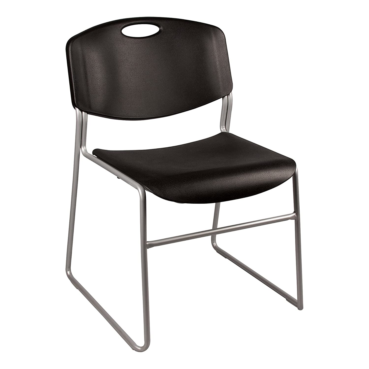 Norwood Commercial Furniture Heavy-Duty Plastic Stacking Chair, Black Seat w/ Silver Mist Frame, NOR-FEI1059BK-SO (Pack of 4)