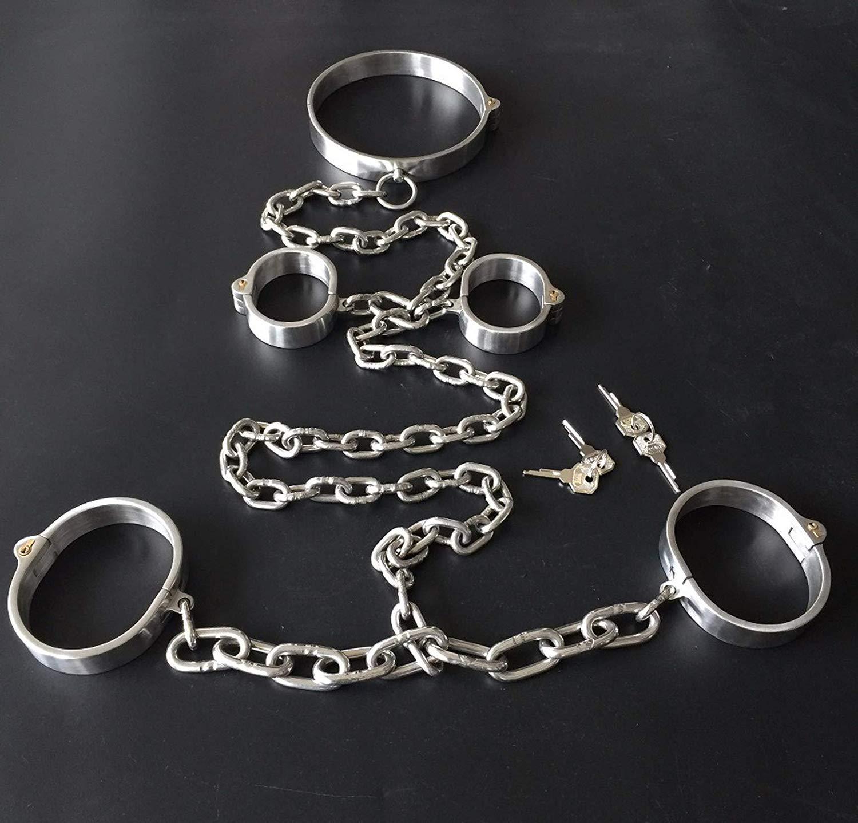 weuya shirt Stainless steel cuffs Bondagekit collar Sexxn+handcuffs for Sexxn+Ankle cuffs with chain slave fetish Sexxn toys Pleasure games,male
