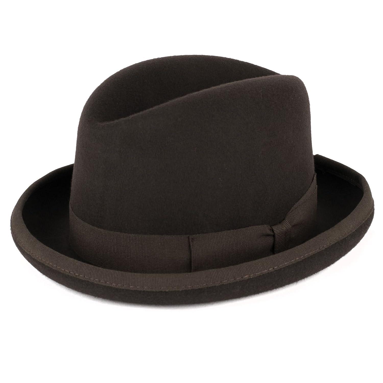 76218d5a9bcd8 Amazon.com: ZAKIRA Men's Homburg Hat in Fine Wool Felt - Handmade in ...