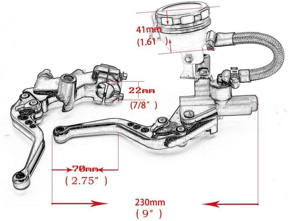 Alpha Rider 7//8 CNC Brake Clutch Master Cylinder Lever Fluid Reservoir Fit For Motorcycle Yamaha YZF R1 R6 1999-2015 R6S 2006-2009 FJR1300 2004-2005 WR450F 2009