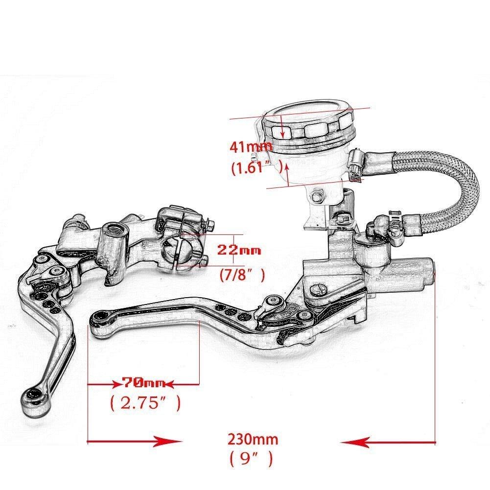 Alpha Rider 7//8 CNC Brake Clutch Master Cylinder Lever Fluid Reservoir Fit For Buell Lightning CityX XB9SX 2005-2006 2008 2010