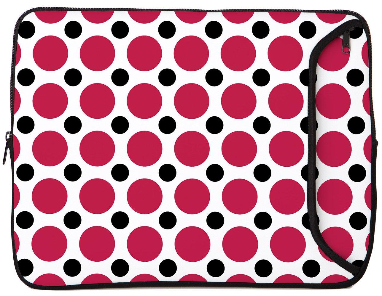Designer Sleeves 15.6 Neoprene Laptop Bag Case with Zippered Pocket Polka Dots 15DS-PDPB Pink /& Black