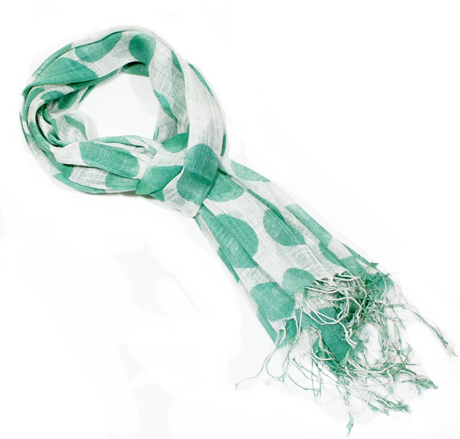 Soft Green Oval Dots Fashion Cotton Fashion Scarve for Women