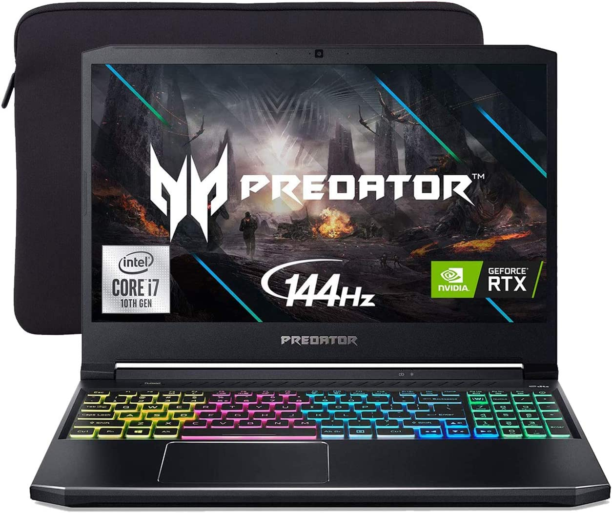 "Acer Predator Helios 300 144Hz Gaming Laptop, 15.6"" 3ms IPS FHD, RTX 2060 OC, i7-10750H 6-Cores up to 5.00 GHz, 32GB RAM, 1TB SSD+2TB SSHD, Killer Network, RGB KB, Mytrix Sleeve, Win 10"