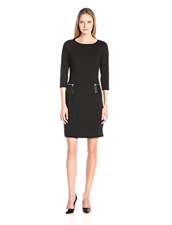 Sharagano Women's 3/4 Sleeve Ponte Shift Dress with Faux