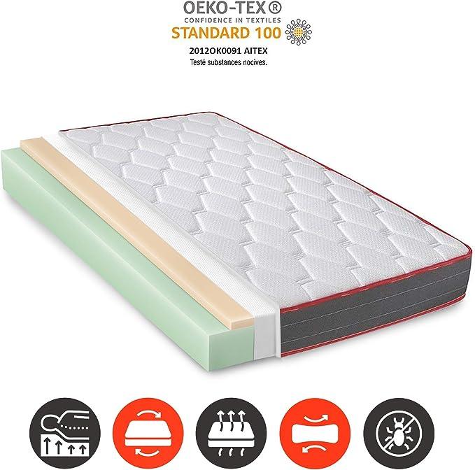 Matelas Ergo-Therapy 160X200 à mémoire de Forme | 18 cm Épaisseur | 2 cm de Mousse à mémoire de Forme de 65 kg/m3 | Foam AirSistem | Extrêmement Durable | Certification ISO 9001