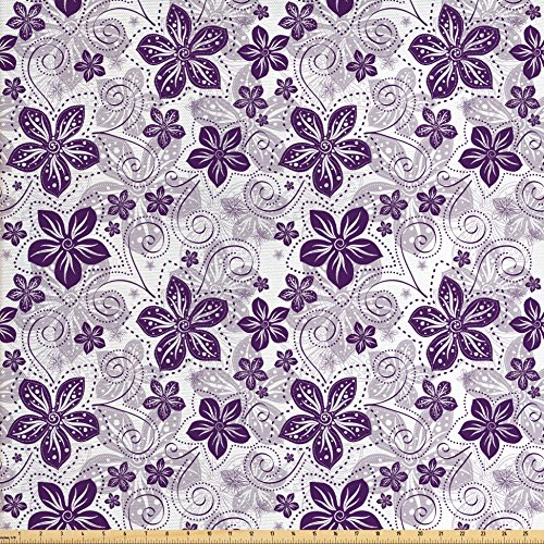 Lunarable Violet Fabric by The Yard, Swirls and Dots Floral Arrangement with Abstract Composition Geometric Elements, Decorative Fabric for Upholstery and Home Accents, Plum White ()