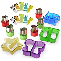 Sandwich Cutters for Kids - 20 pcs/set - Mini Cookie Cutters Shapes - Vegetable and Fruit Cutters with Food Picks for…