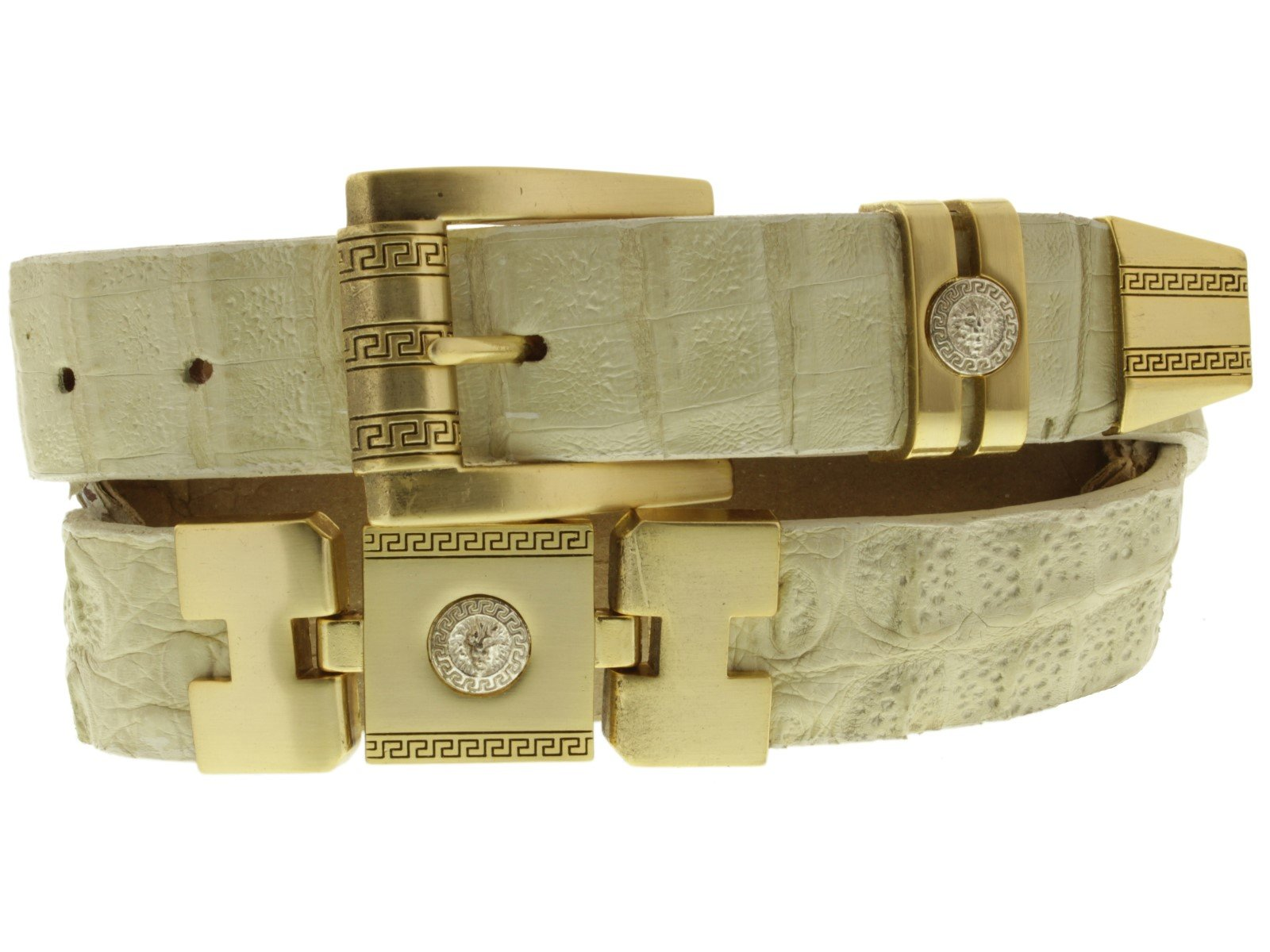 Cowboy Professional - Mens Beige Genuine Crocodile Skin Cowboy Belt Gold Links 38