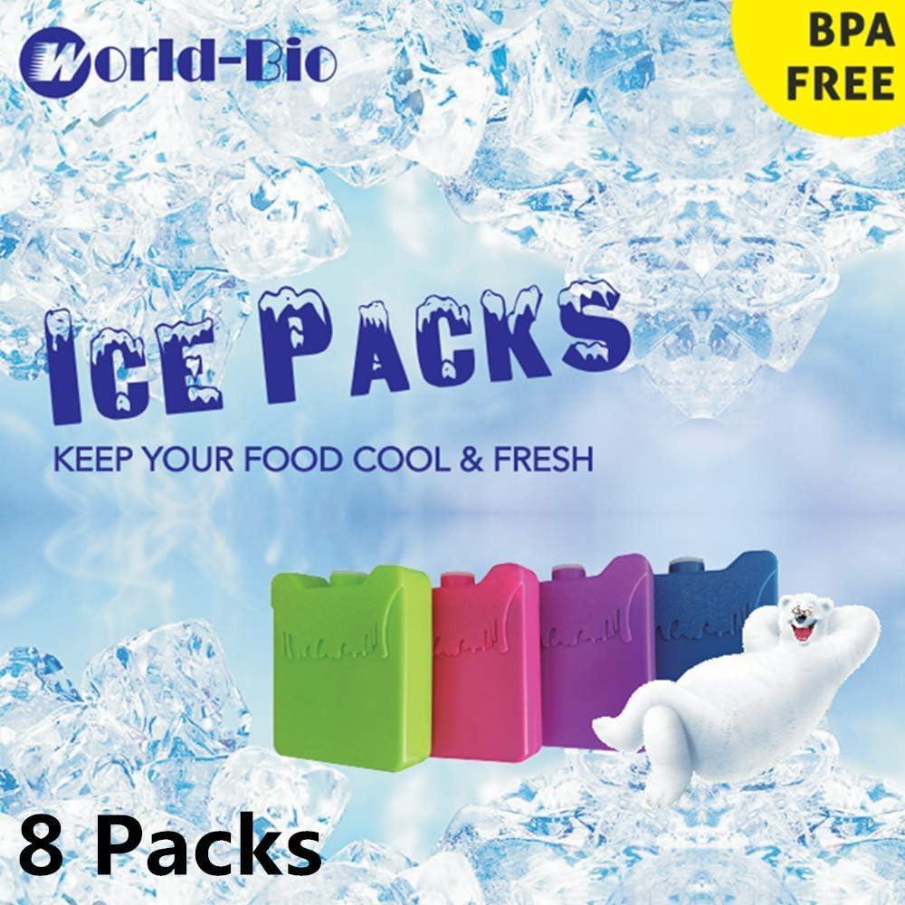 Bolsas de Almuerzo y refrigeradores refrigeradores Delgados y refrigeradores de Larga duraci/¨/®n y congeladores para el Almuerzo WORLD-BIO Paquetes de Hielo Reutilizables para fiambreras Juego de 4