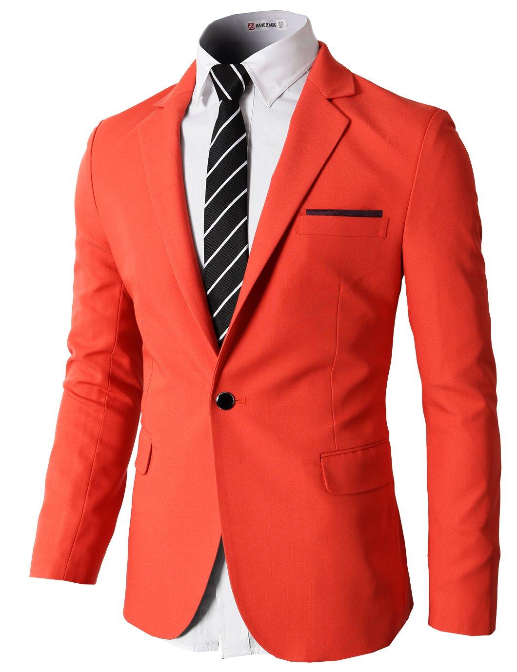 H2H Mens Wearable Designed Single One Button Blazer Jackets with Pocketchief Trim Orange US XL/Asia 2XL (KMOBL046)