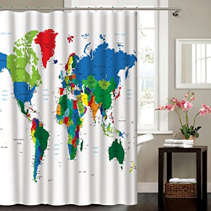 Amazon Com I Choice World Map Shower Curtains Colorful Earth World