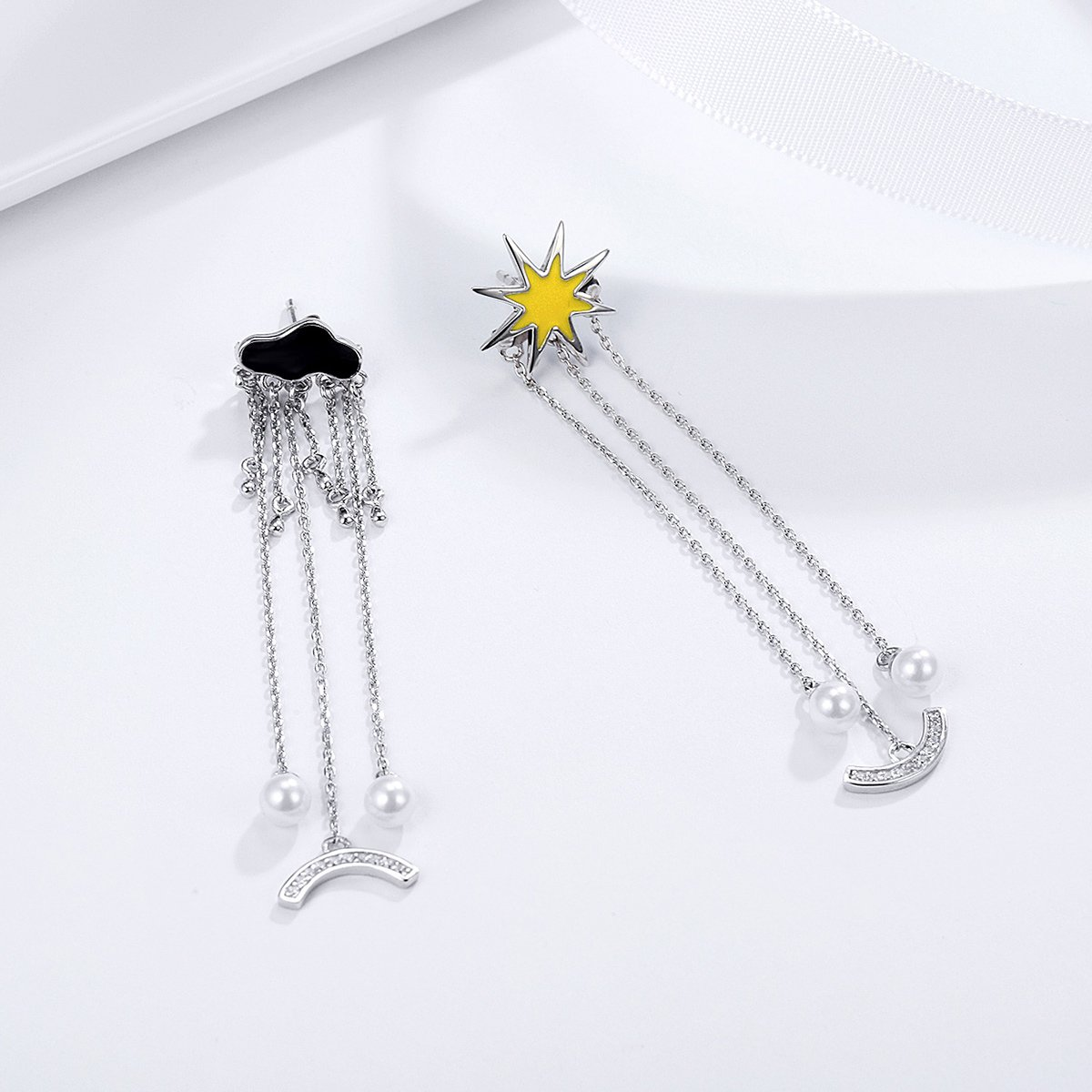 The Kiss I Love Sunny Day Weather Long Tassel Simulated Pearl 925 Sterling Silver Dangle Earrings