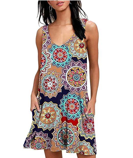 Damen Blumen Sommerkleid Shirtkleid Longshirt Retro Tuniakleid Freizeitkleid DE