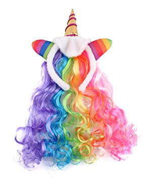 FELIZHOUSE Rainbow Wig Unicorn Headband for Girls Kids Women efd510770b66