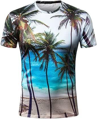 Sumen Men Hawaiian T-Shirts Coconut Tree Print Holiday Beach Aloha Party Tops