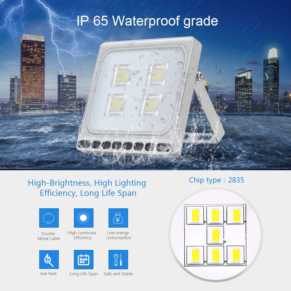 terraza f/ábrica 150W Foco LED Exterior para jard/ín patio 12000LM 6000K Blanco Frio Ultra Delgado Foco Proyector Led espacio Clase energ/ética A ++ Resistente al Agua IP65