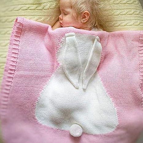 Manta para bebé con diseño de conejo 3D, 100% algodón orgánico ...