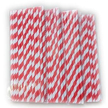 Trinkhalm Aus Papier 100 Stück Rot Weiß Strohhalme Papierstrohhalme Nachhaltig Cocktail Zubehör