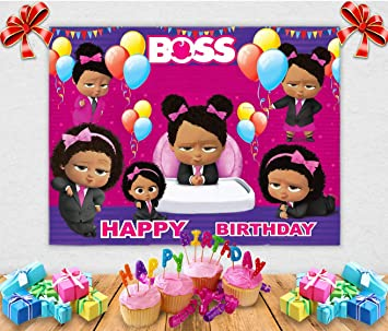 Tj Pink Boss Baby Black Girls Theme Photography Background Balloon Daughter Baby Shower 1st Birthday Party Photo Backdrops Kids Studio Booth Props