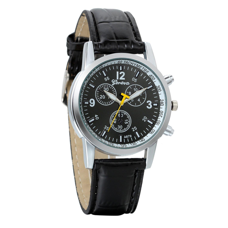 Reloj de Pulsera para Hombre, Vidrio BLU-Ray, Grande Reloj Analogico Cuarzo, Correa de Piel, Estilo Classic Casual Elegant, Avaner
