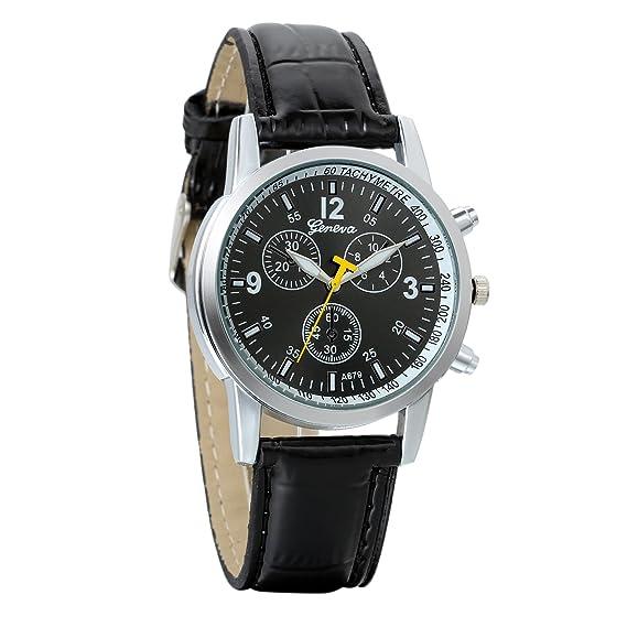 Reloj hombre avaner reloj pulsera reloj Digital gráfico analógica correa de piel pulsera reloj Sport hombre negro: Amazon.es: Relojes