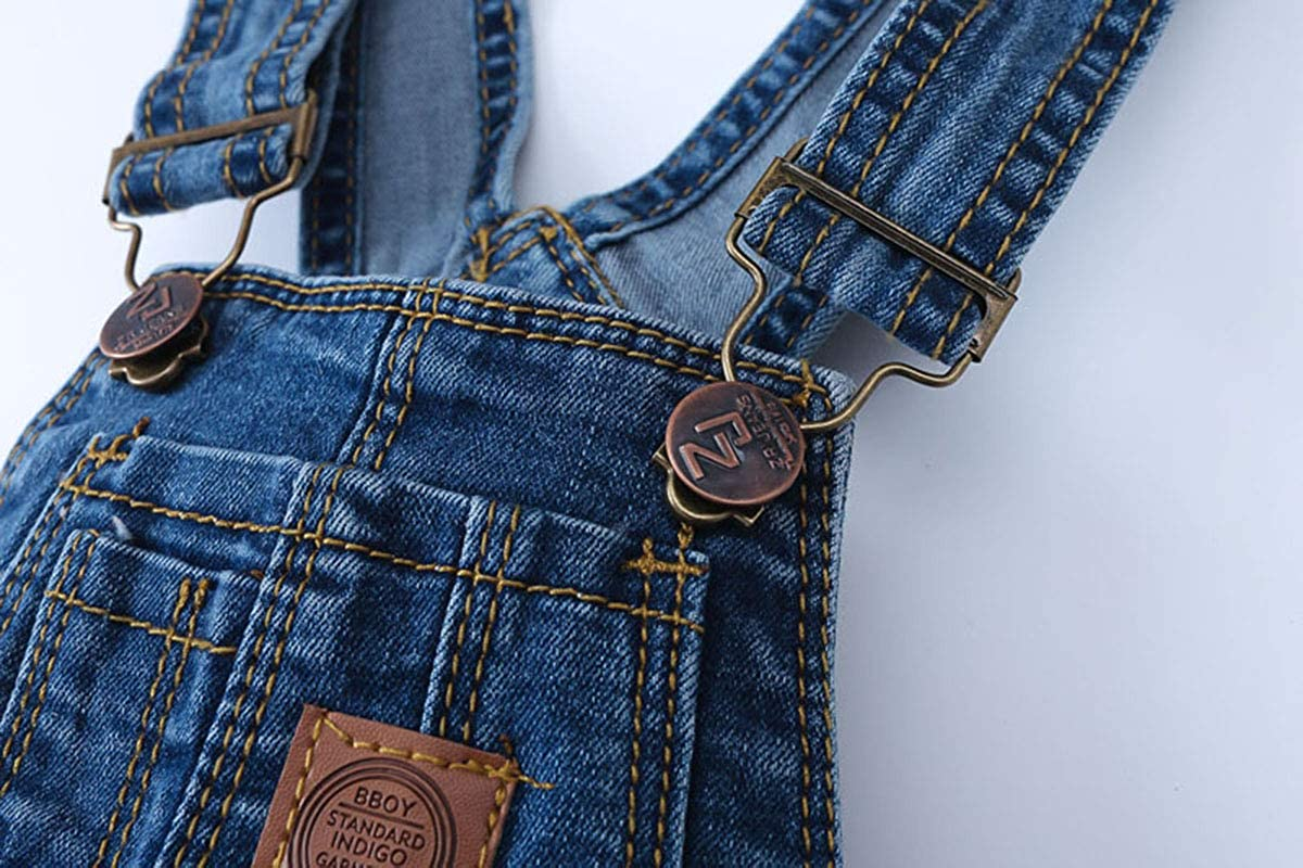 Deep Blue-6659 6-7 Years Kidscool Child Ripped Holes Stretchy Stone Washed Soft Slim Jeans Overalls