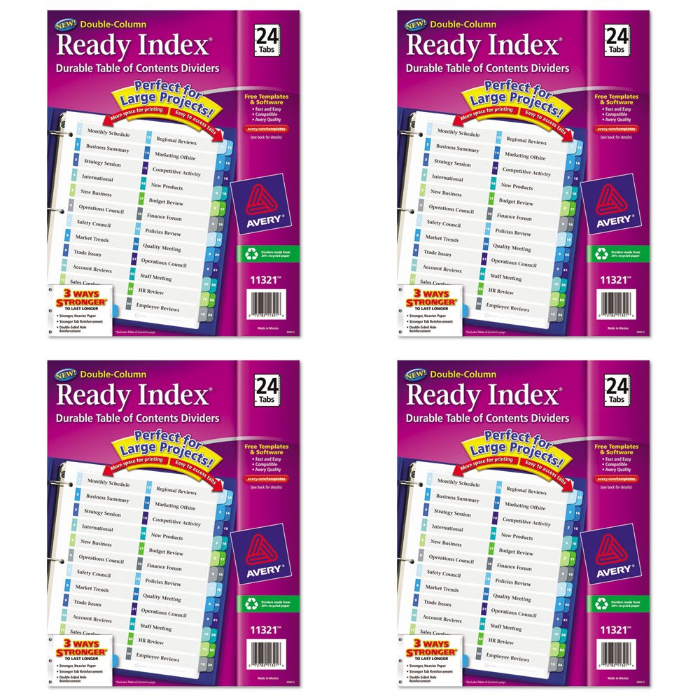 Avery Double-Column Ready Index Dividers, 24-Tab Set, 1 Set (11321), 4 Packs
