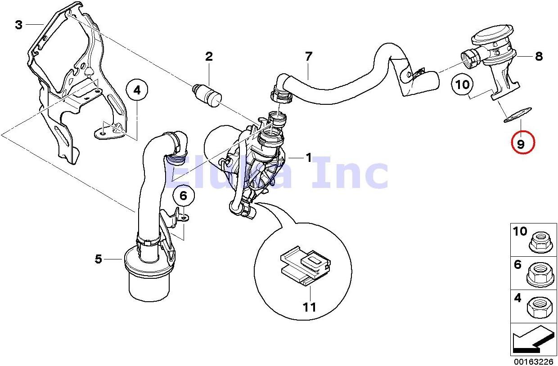 BMW OEM Cylinder Head Secondary Air Injection Control Valve Gasket 525i 525xi 530i 530xi 545i 528i 528xi 530xi 645Ci 645Ci 745i ALPINA B7 745Li X5 3.0si 128i X3 3.0i X3 3.0si Z4 3.0i Z4 3.0si Z4 3.0si 128i Z4 30i 323i 325i 325xi 328i 328xi 330i 330xi 323i