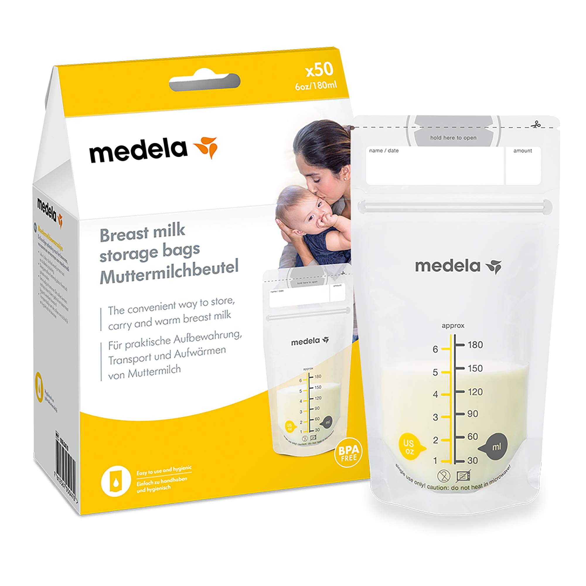 Medela Pump and Save Breast Milk Storage Bags, Breastmilk Collection Bags, Pack of 50
