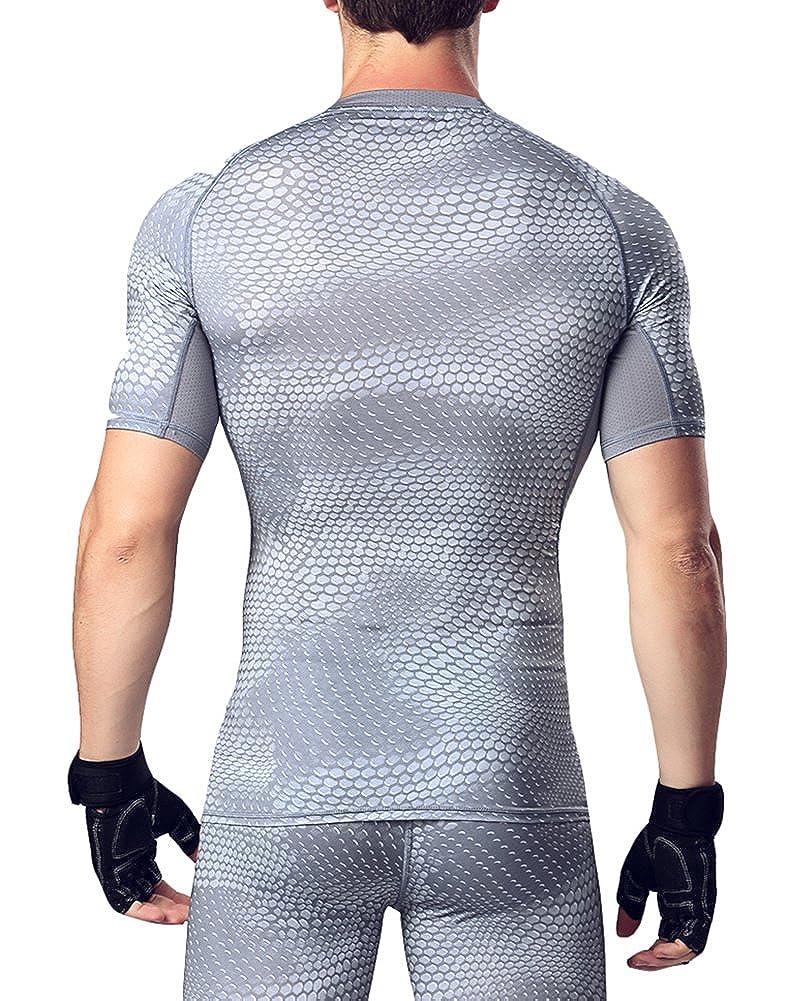 Westkun Mens Althletic Mesh Compression Baselayer Shirt
