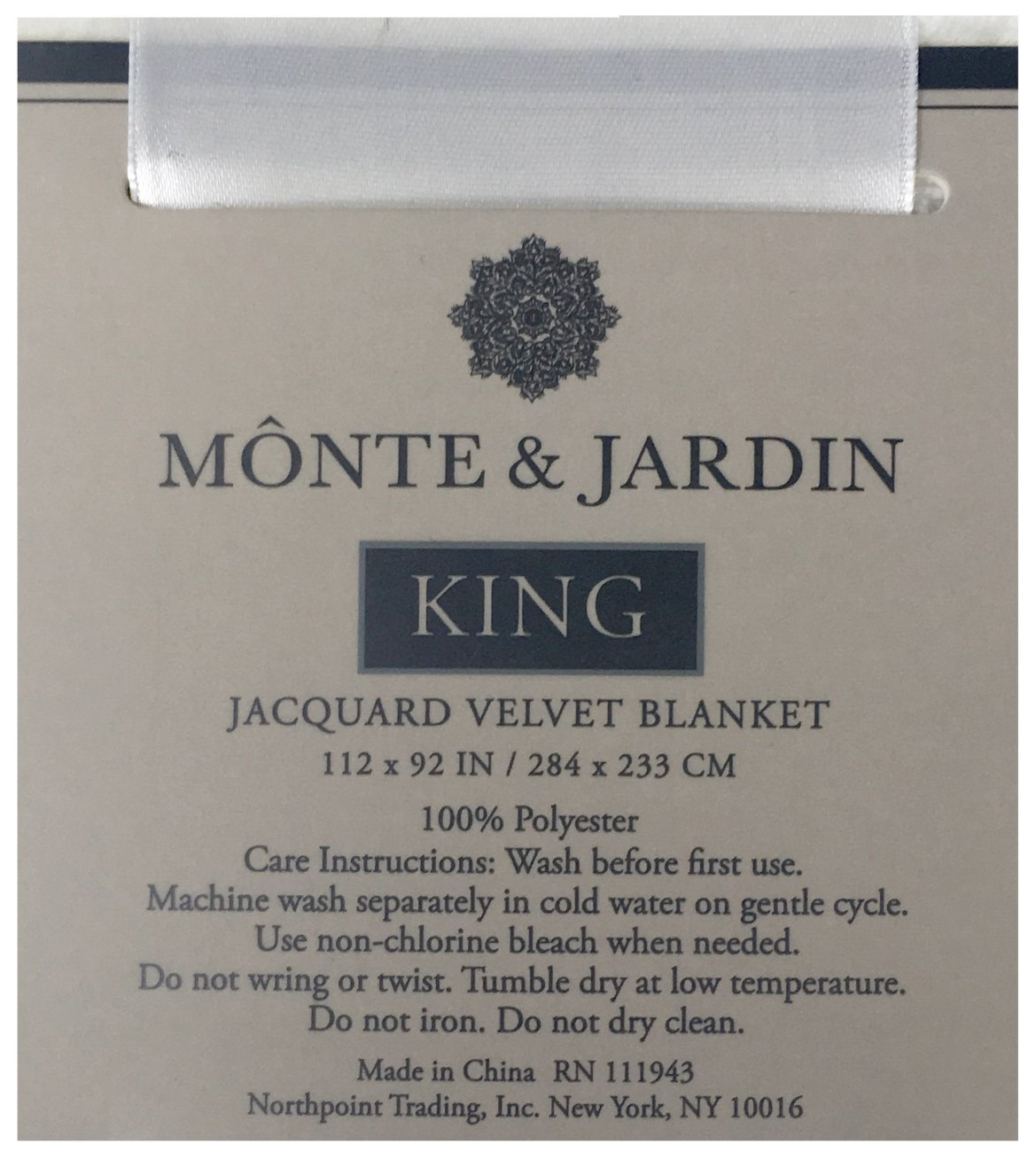 Monte /& Jardin Jacquard Velvet Blanket King Size Pure White