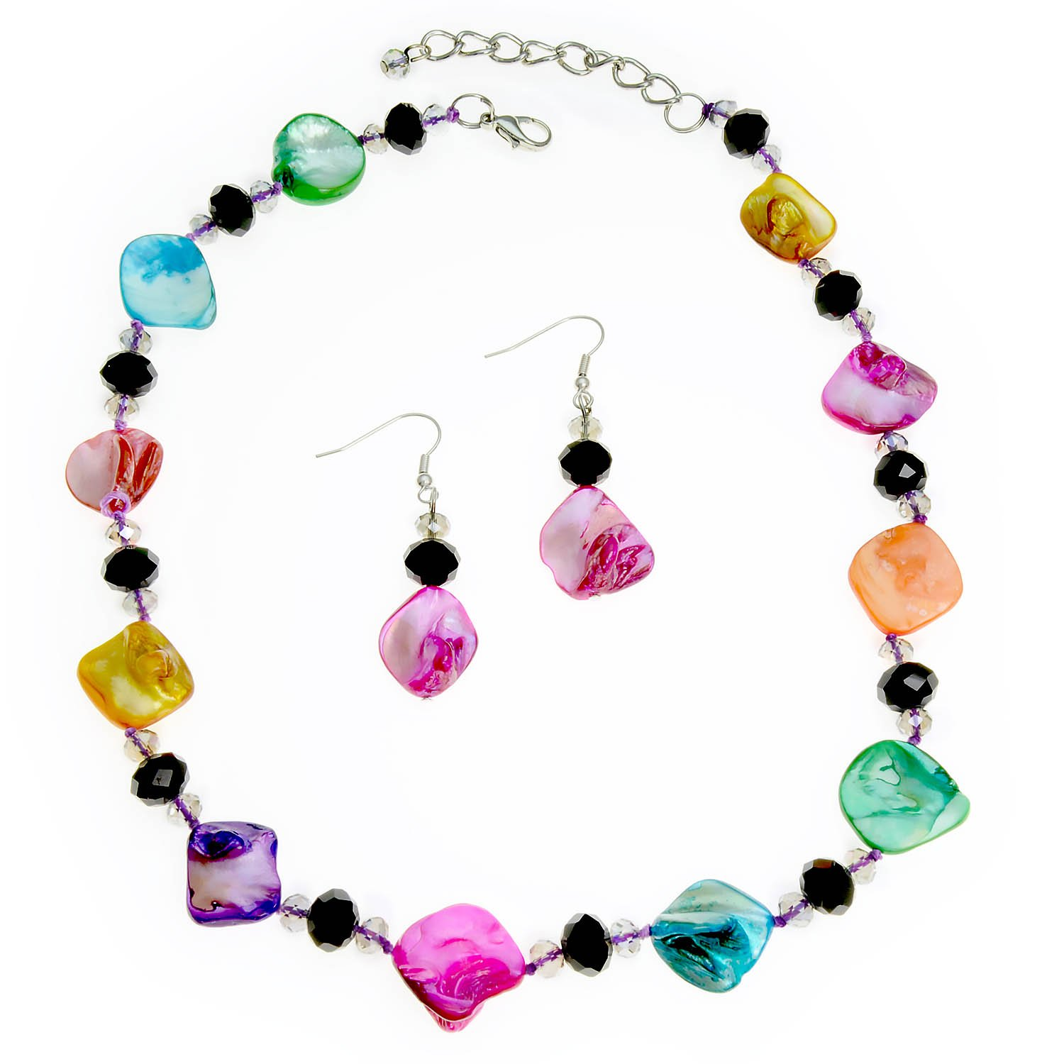 PammyJ Multi Colored Imitation Shell Necklace Earrings Set, 18'' + 2'' ext