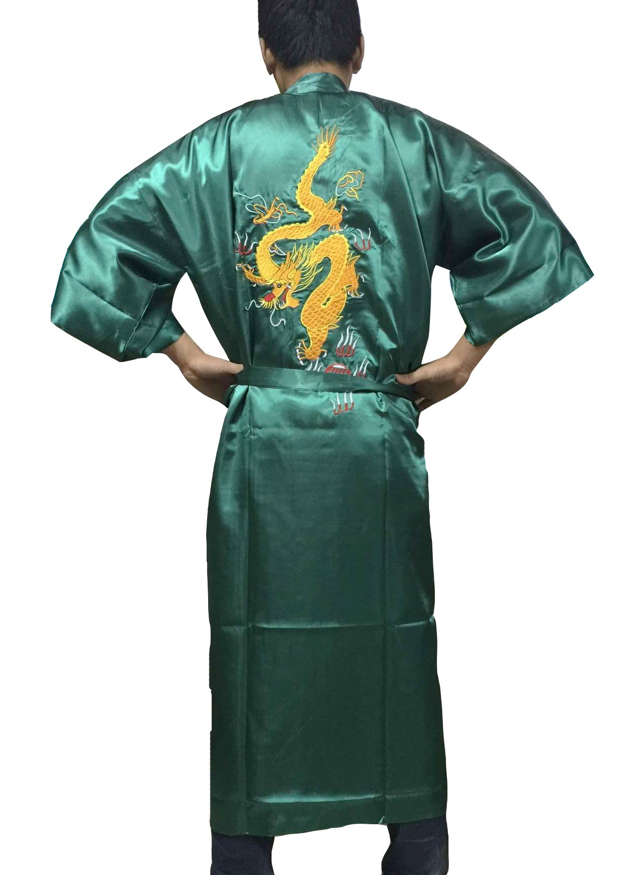 YueLian Men's Long Satin Chinese Dragon Embroidery Robe Kimono Bathrobe Sleepwear Green by YueLian