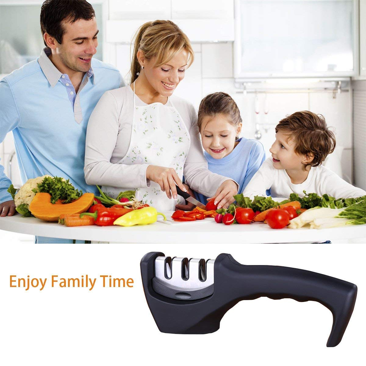 Knife Sharpener- Professional Kitchen Knife Sharpener 3 Stage Steel Diamond Ceramic Coated Kitchen Sharpening Tool with Cut Resistant Glove - Non-slip Base Chef Knife Sharpening Kit Easy to Control by HKSH (Image #5)